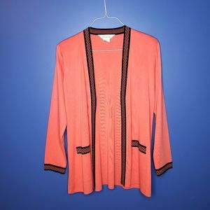 Exclusively Misook Open Cardigan Sweater Peach